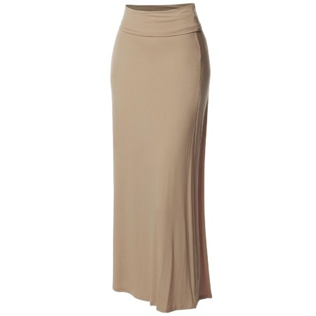 Bustle Over Skirt - FashionOutfit Women's Stylish Fold Over Flare Long Maxi Skirt