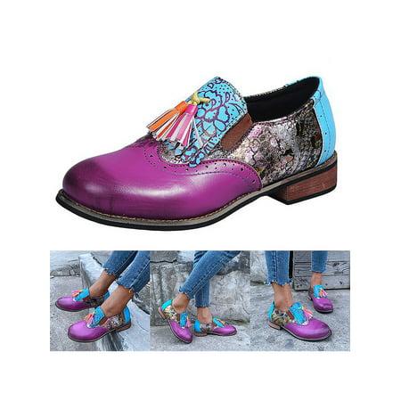 Avamo Women's Block Heel Tassel Slip On Flats Shoes Pumps Ladies Spring Casual Loafers