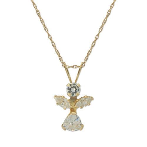 "CZ 10kt Gold Angel Pendant, 18"""