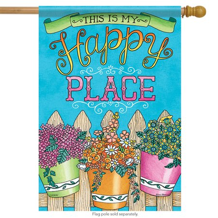 Buckets of Happiness Inspirational House Flag 2 Sided Flower Happy Place 28