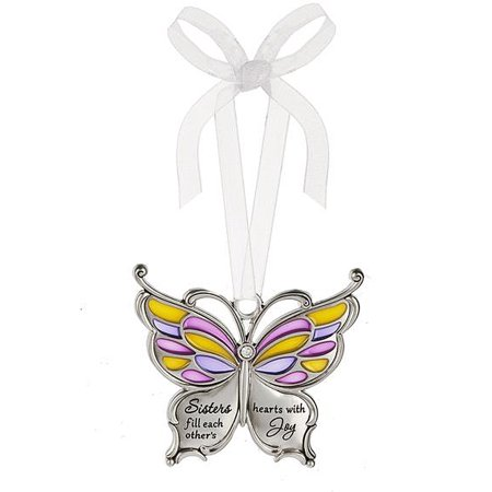 - Sisters Fill Each Other's Hearts With Joy Metal Butterfly Car Charm - By Ganz