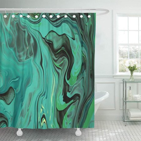 PKNMT Colorful Abstract Black and Green Marble Color Mix Contemporary Painting Gray Bright Shower Curtain Bath Curtain 66x72 (Green Color Mix)