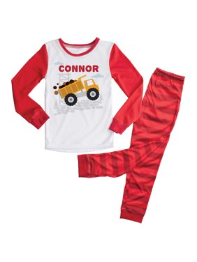 Personalized Red Truck Boys Toddler Pajamas - 2T, 3T, 4T, 5/6T