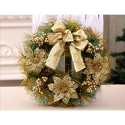 """Happyline"" 12"" Christmas Wreath with Ribbon and Bells, Outdoor Indoor Christmas Wreaths Garland Ornaments Christmas Decorations Gold"