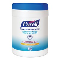 PURELL Sanitizing Hand Wipes, 6 x 6 3/4, White, 270 Wipes/Canister -GOJ911306EA