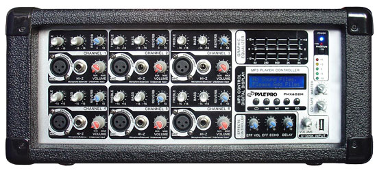 6-Channel 600 Watt Powered PA Mixer Amplifier with Audio Line (3.5mm) Input, USB SD Card... by Pyle