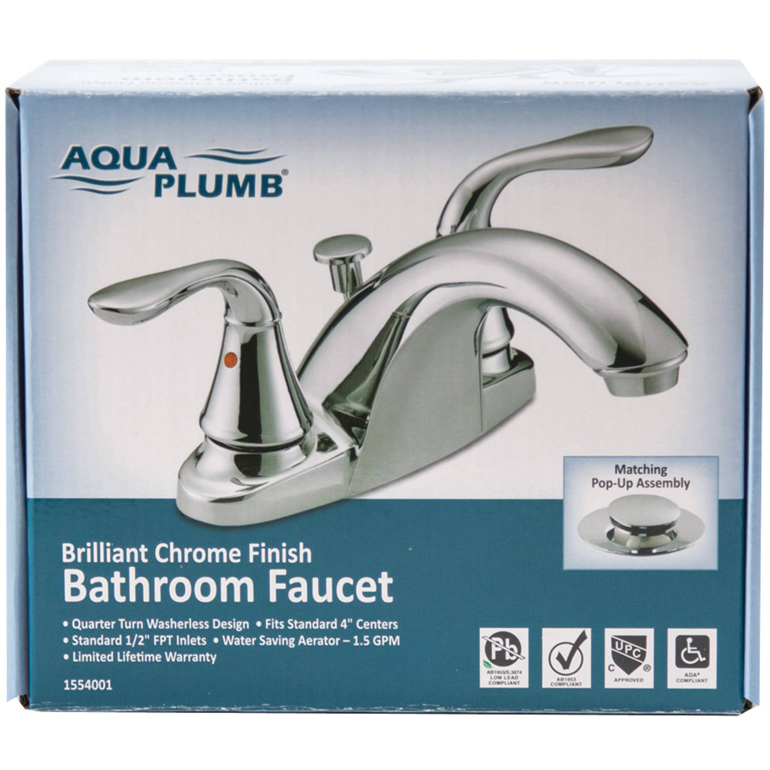 Aqua Plumb 1554001 Premium Chrome-Plated 2-Handle Bathroom Faucet