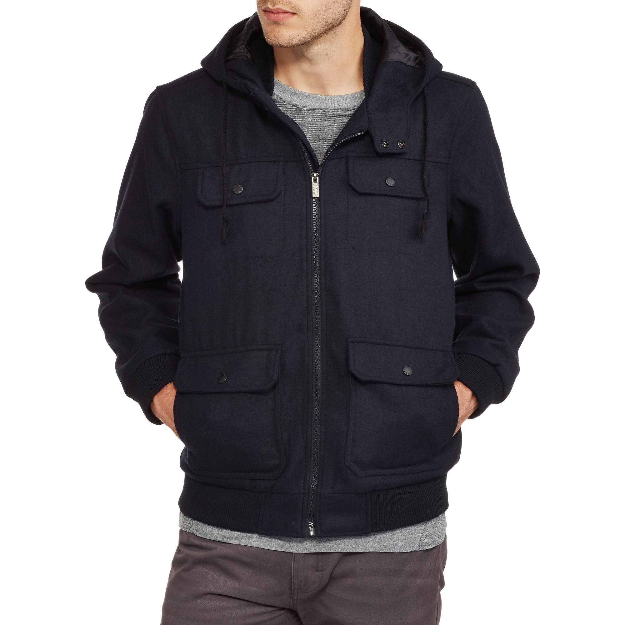 Men's Wool Bomber Jacket with Detachable Drawstring Hood