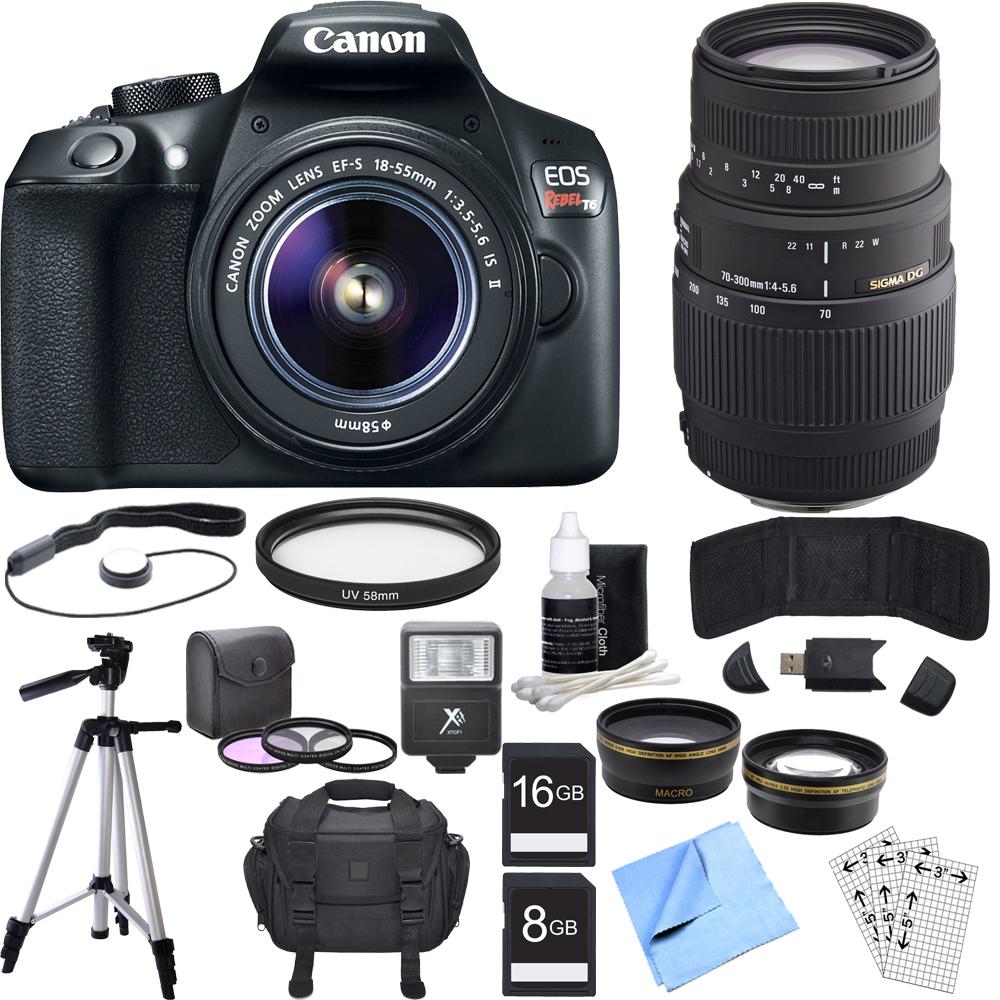 Canon EOS Rebel T6 Digital SLR Camera w/ EF-S 18-55mm + 70-300