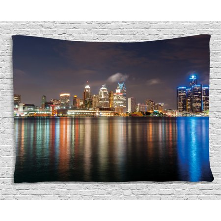 Detroit Decor Tapestry, Modern Metropolis Cityscape at Night Time Detroit River Colorful Reflection, Wall Hanging for Bedroom Living Room Dorm Decor, 60W X 40L Inches, Multicolor, by Ambesonne