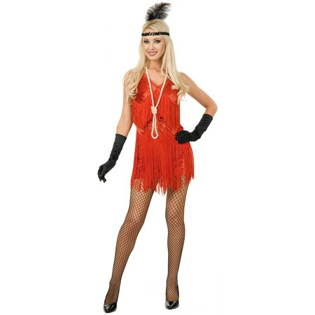 Chicago Flapper  Adult Costume Red - Large](Wit Chicago Halloween)
