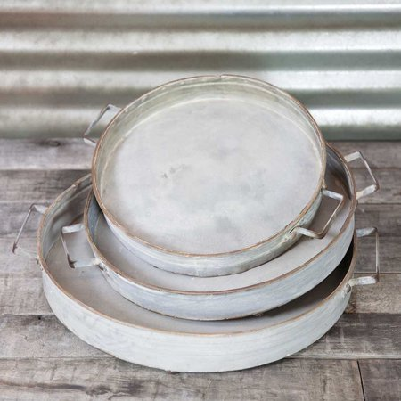 Drinkware Serving Trays Footed Metal Platters With Handles