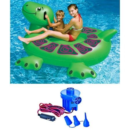 Swimline 90622 Pool Kids Inflatable Rideable Turtle Float 74