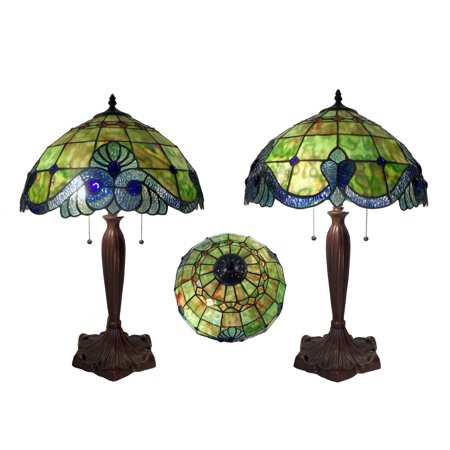Warehouse Of Tiffany Green Geometric Table Lamp (Warehouse Dark)
