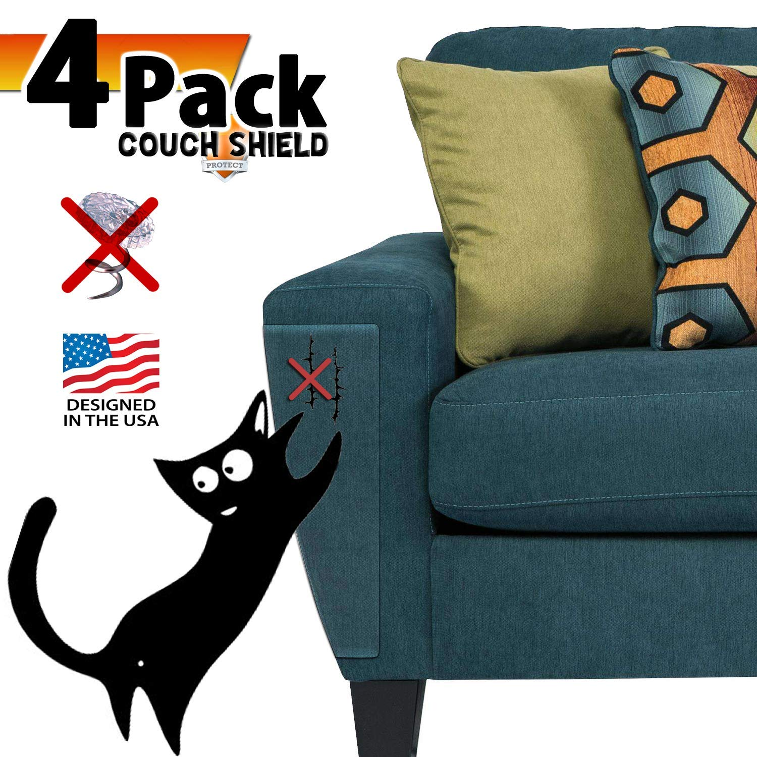 4PCS Couch Defender for Cats, Stop Pets from Scratching Furniture,Anti Scratch Mattress Protector,Chair and Sofa Deterrent Guards,Corners Scratch Cover ,Claw Proof Pads for Door and Wall