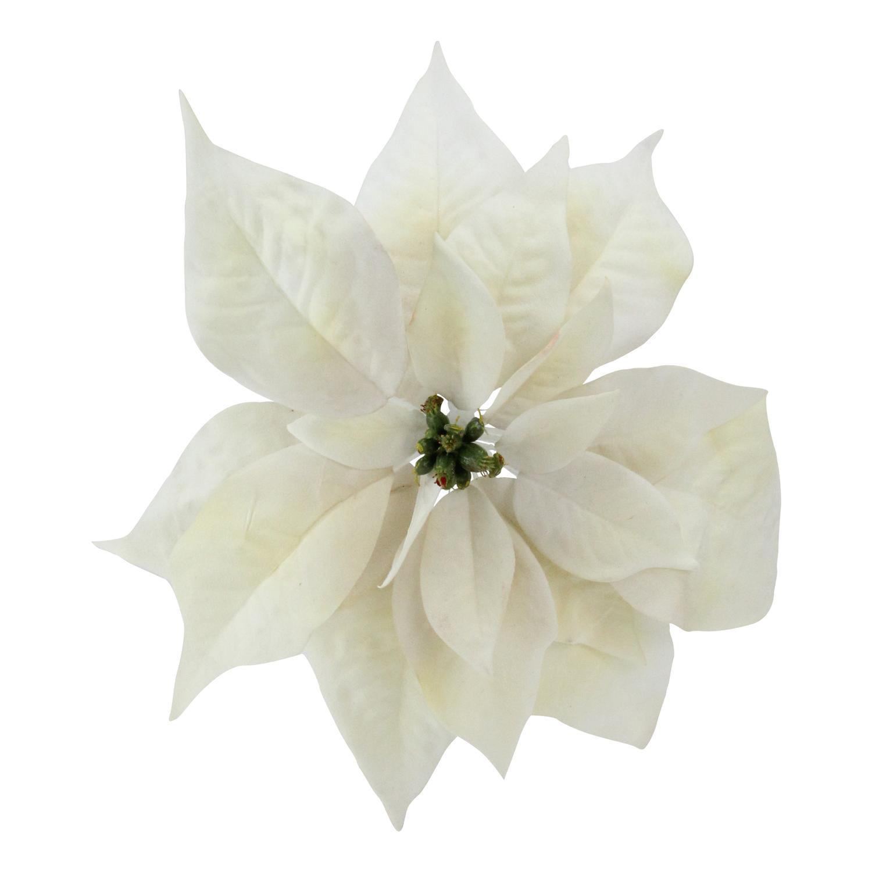 "9.5"" Artificial Cream White Poinsettia Clip Christmas Ornament - Walmart.com"