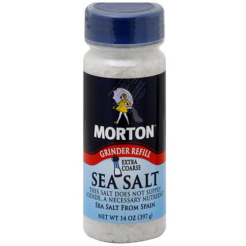 Morton Extra Coarse Sea Salt, 14 oz (Pack of 12)
