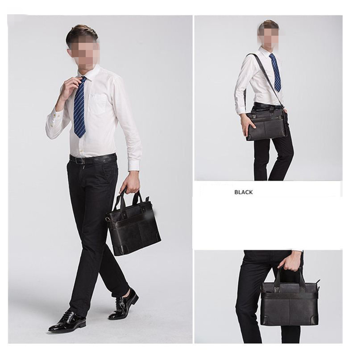 Fashion Men's PU Leather Briefcase Business Bag Shoulder Messenger Laptop Bags