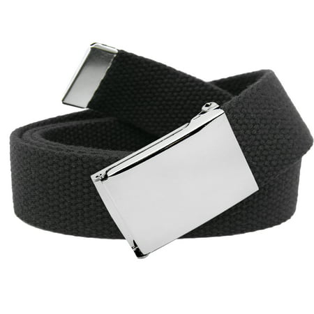 Boys School Uniform Silver Flip Top Military Belt Buckle with Canvas Web Belt Small Black