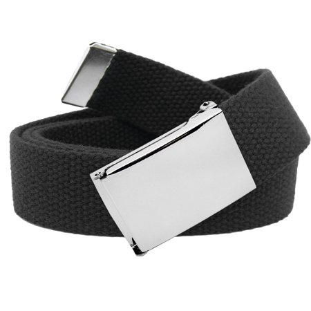 Men's Classic Silver Flip Top Military Buckle with Canvas Web Belt Small Black ()