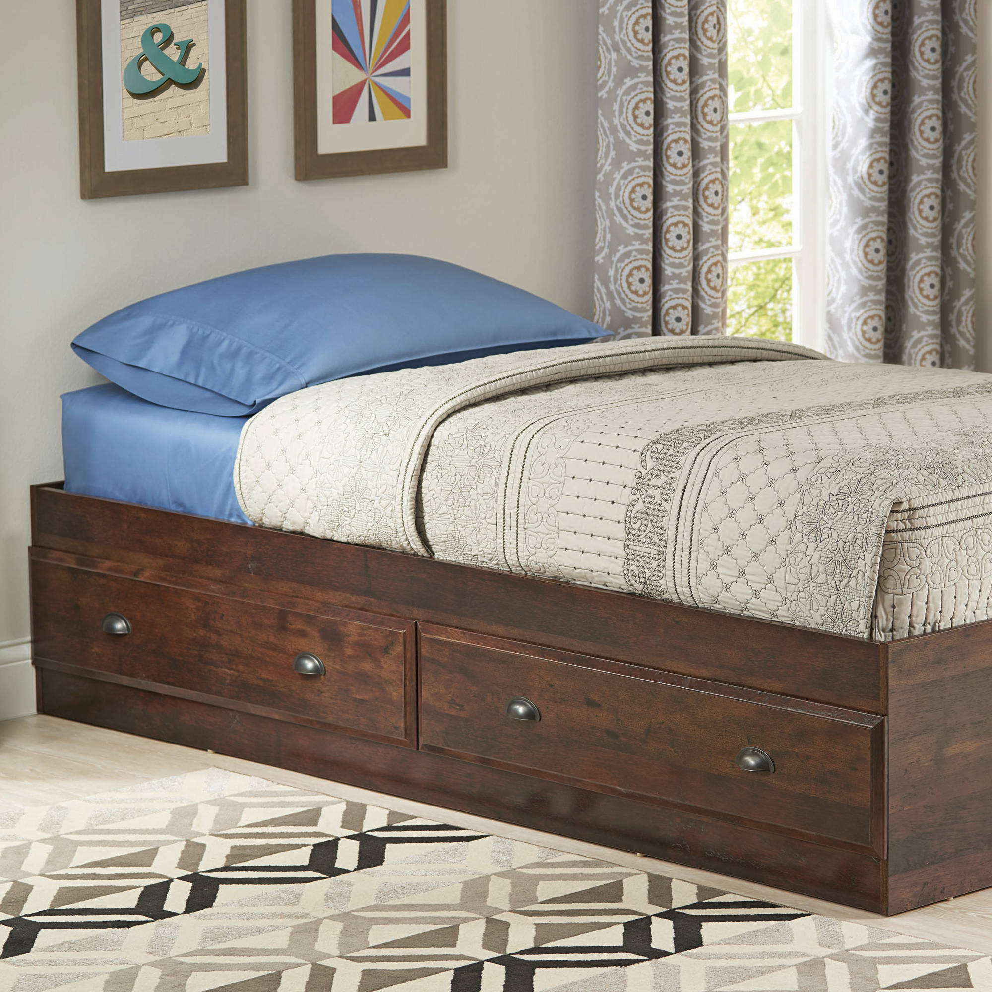 Picture of: Better Homes Gardens Leighton Mates Kids Storage Bed Twin Rustic Cherry Walmart Com Walmart Com