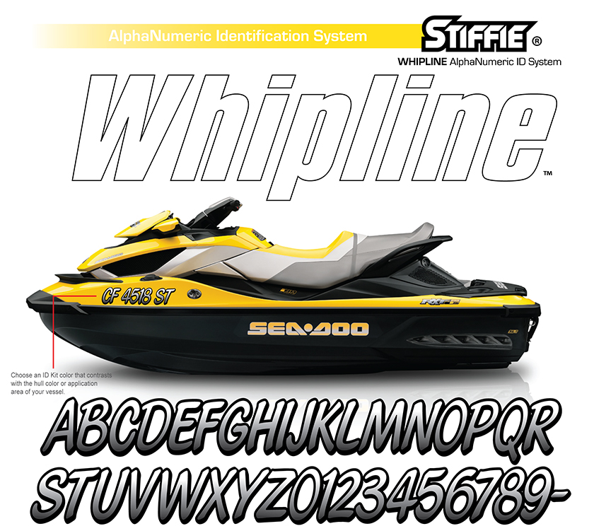 Stiffie Whipline Charcoal//Black 3 Alpha-Numeric Registration Identification Numbers Stickers Decals for Boats /& Personal Watercraft
