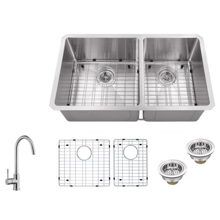 Soleil 32'' x 19'' Double Basin Undermount 60/40 Kitchen Sink with on large stainless sink, double bowl apron front sink, elkay undermount sink, mosaic tile sink, upc sink, low divide sink, 24 double bowl undermount sink, triple bowl kitchen sink, extra large kitchen sink, 24 kitchen sink, double kitchen sink, offset kitchen sink, stainless steel deep sink, laminate undermount sink, 60 40 stainless sink, small round prep sink, 60 40 integrated kitchen sink, best 16-gauge kitchen sink, blanco 40 60 sink,
