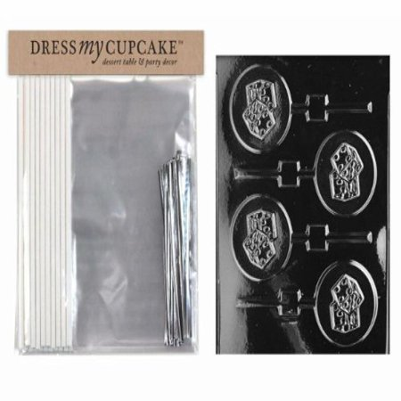 Dress My Cupcake DMCKITJ060 Chocolate Candy Lollipop Packaging Kit with Mold, Dice Lollipop