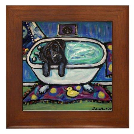 CafePress - Black Labrador Whimsical Bath - Framed Tile, Decorative Wall
