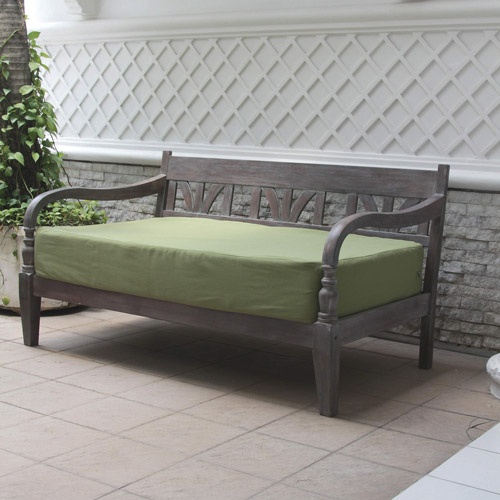 Indonesian Outdoor Daybed, Gray with Green Cushion