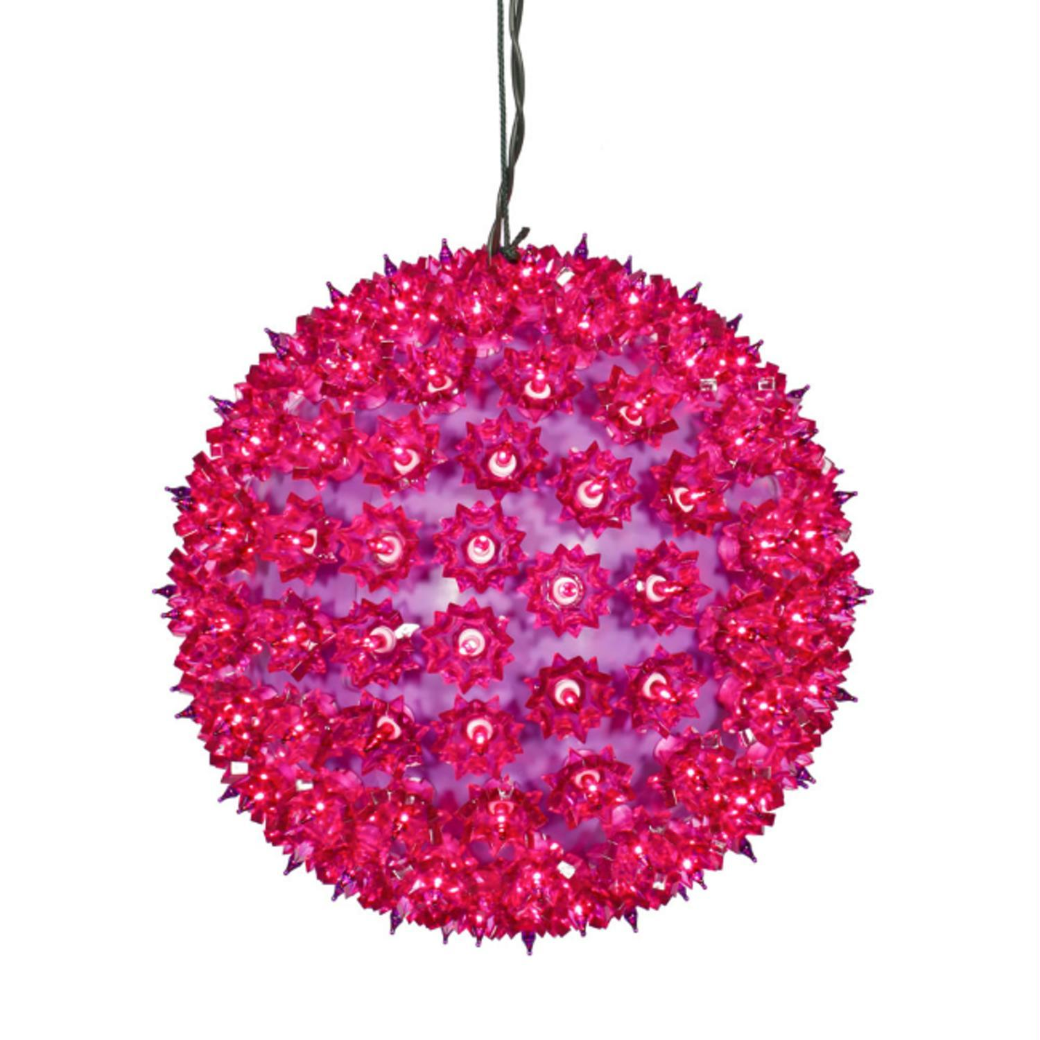 "10"" Fuchsia Lighted Hanging Star Sphere Christmas Decoration"
