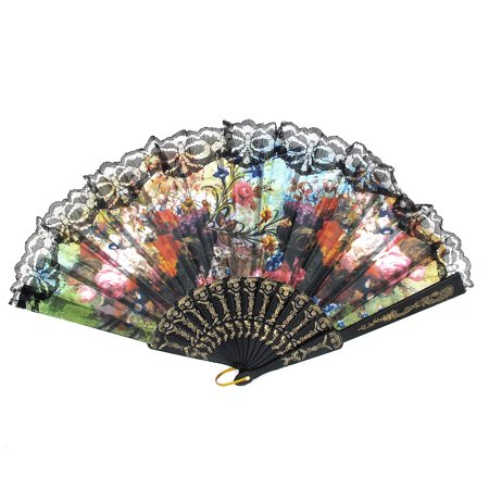 Wedding Party D Ring Decor Plastic Rib Floral Print Folding Hand Fan Black - image 3 of 3