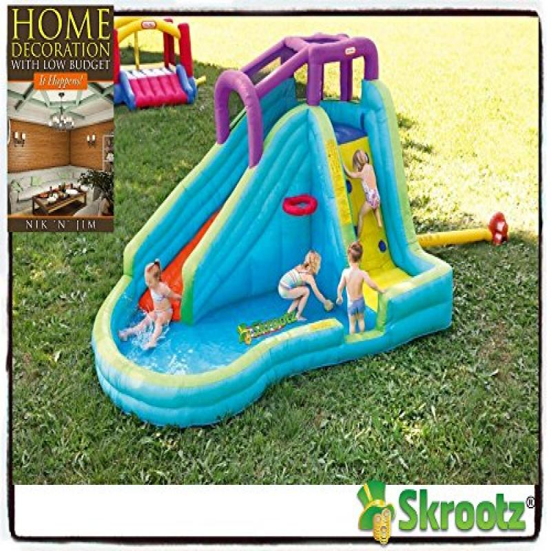 Click here to buy Inflatable Bounce House Jump Splash Adventure Waterslide Bouncer Pool Waterslide New Kids Home Banzai Outdoor Slip Fun....