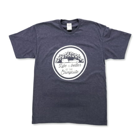 Life is Better at The Campsite Navy Blue T-Shirt Soft Cotton Blend, Comfortable Material, Great for a Gym Shirt - XXL (53216) ()