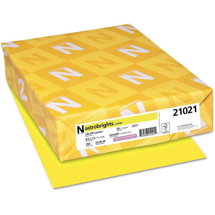 "Neenah Paper Astrobrights Colored Card Stock, 8.5"" x 11"", Lift-Off Lemon, 250 Sheets"