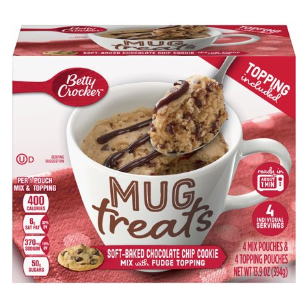 (6 Pack) Betty Crocker Mug Treats Soft-Baked Chocolate Chip Cookie 13.9 oz (Oatmeal Chocolate Chip Cookie In A Mug)