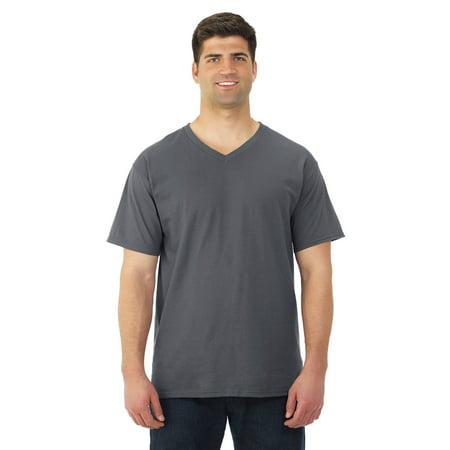 Fruit Of The Loom Mens HD Cotton Short Sleeve V-Neck T-Shirt, S, Black (Black Short Sleeve Tee)