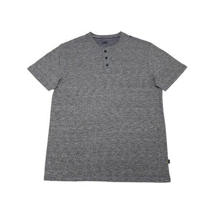 Lee Mens Size Medium Short Sleeve Premium Henley Shirt, Grey