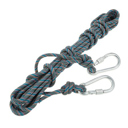 Lixada 8mm * 10m Outdoor Safety Rock Climbing Rope Cord Caving Rappelling Abseiling Rescue Survival Accessory Cord Sling with Carabiners