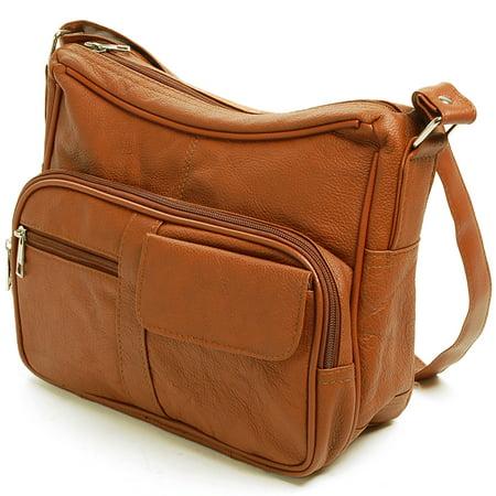 Weekend Wine Bag (Women's Leather Organizer Purse Shoulder Bag Multiple Pockets Cross Body Handbag)