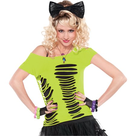 Ripped Up Shirt For Halloween (Suit Yourself Neon Green Ripped T-Shirt for Adults, One Size up to Women's Size 6-8, Features Off-the-Shoulder)