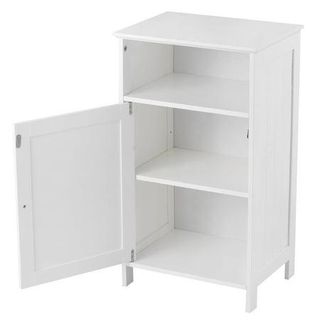 Gymax Bathroom Floor Storage Cabinet Side Table Adjustable