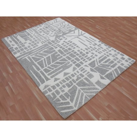 Modern Rich Wool Area Rug 7x9 ft Hand Tufted Grey & White by MystiqueDecors Family Media Dining Living Room Bedroom Kids Room Rugs ()