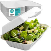 "[50 Pack] 9x6x3"" Clamshell Food Containers with 1 Compartment - Compostable Take Out Box, 100% Biodegradable Sugarcane, Styrofoam and Plastic Alternative, Microwave Safe, To Go Lunch and Meals"