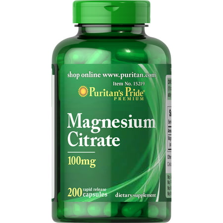 Puritan's Pride Magnesium Citrate Capsules, 100mg, 200