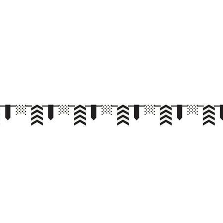 12ft Black Polka Dot and Chevron Paper Flag - Black Polka Dots
