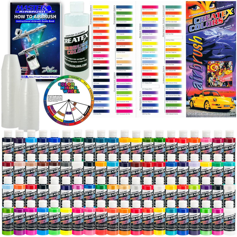 Createx Deluxe All 80 Colors Set 2oz Airbrush Hobby Opaque Transparent Paint Walmart Com