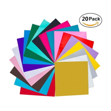 20 Pack 12 X 12 Premium Permanent Self Adhesive Vinyl Sheets-Assorted Colors (Glossy,Metallic and Brushed Metallic) for Cricut,Silhouette Cameo,Craft Cutters,Printers,Letters,Decals](Halloween Vinyl Crafts)