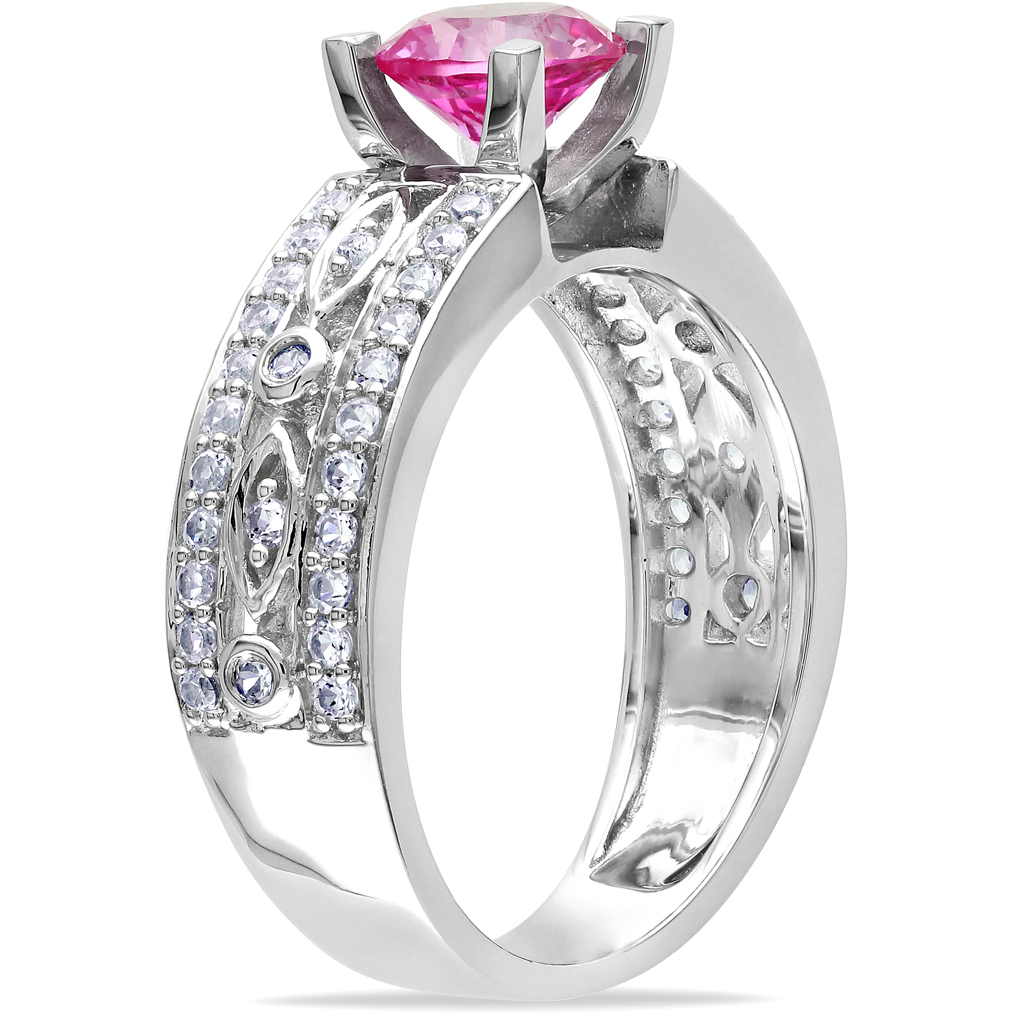 1-7/8 Carat T.G.W. Round Pink and White Sapphire Engagement Ring in Sterling Silver
