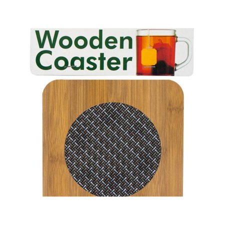 Bulk Buys HR429-12 Wooden Coaster with Basketweave Pattern - 12 - Wooden Coasters